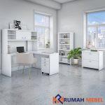 Set Meja Kantor Warna Putih Minimalis