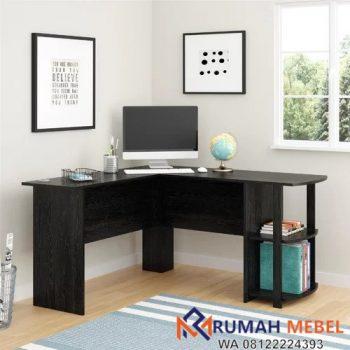 Meja Kantor Sudut Minimalis Kayu Jati