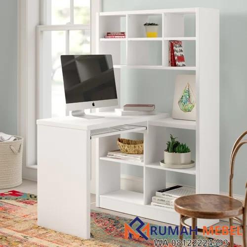 Meja Belajar Modern Warna Putih Rumah Mebel