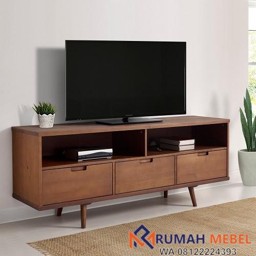 Lemari Rak TV Minimalis Kayu Jati