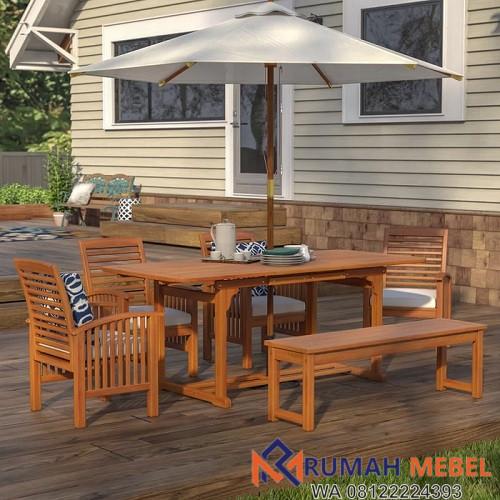 Meja Makan Cafe Outdoor 6 Kursi Kayu Jati