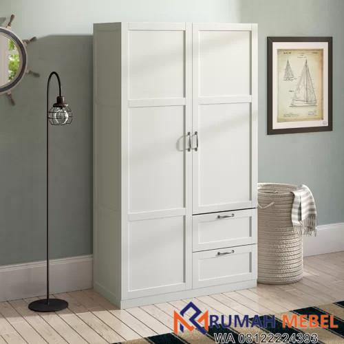 Lemari Pakaian Pintu 2 Warna Putih Minimalis
