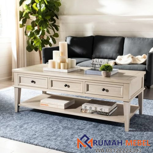 Meja Coffee Table Putih 3 Laci Modern