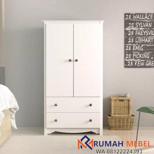 Lemari Pakaian Minimalis 2 Pintu Warna Putih