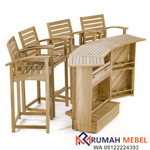 Set Meja Bar Outdoor 4 Kursi Kayu Jati