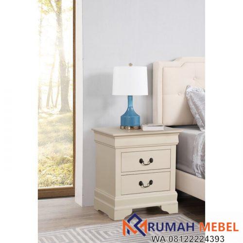 Meja Samping Tempat Tidur Babcock Putih