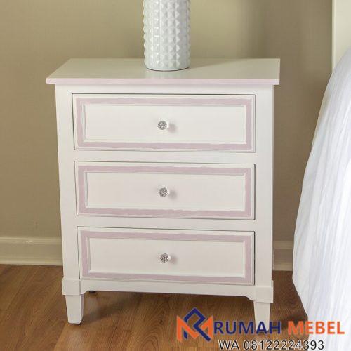 Meja Samping Tempat Tidur Putih