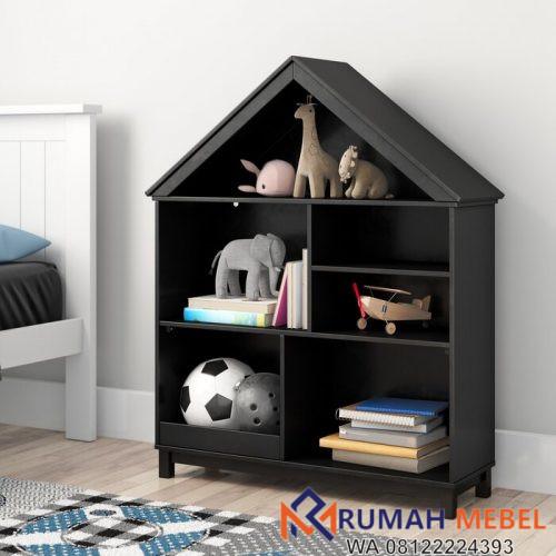 Rak Buku Kayu Model Rumah