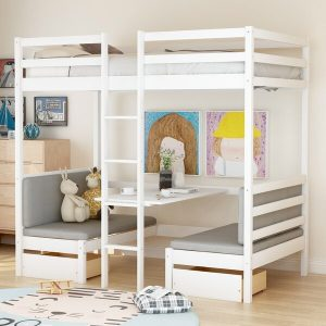 Tempat Tidur Susun Minimalis Coles dengan Laci dan Meja