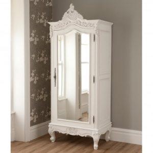 Lemari Pakaian Kayu Ukir Putih 1 Pintu
