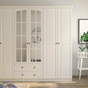 Lemari Pakaian Kayu Minimalis 6 Pintu