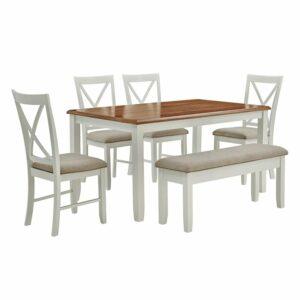 Meja Makan 6 Kursi Putih Amaury