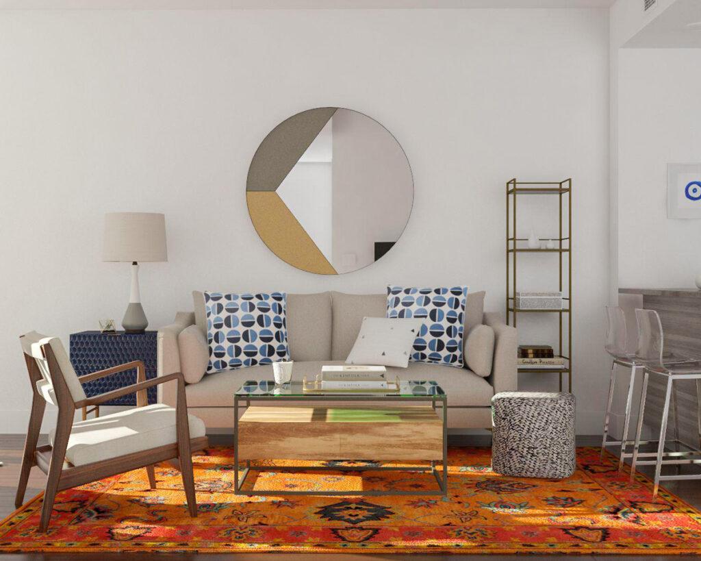 cara menata ruang tamu persegi panjang