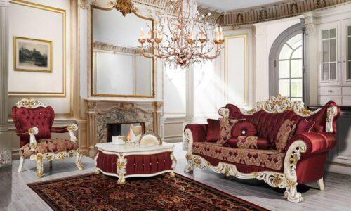 Kursi Sofa Mewah Klasik Oreo Claret Merah