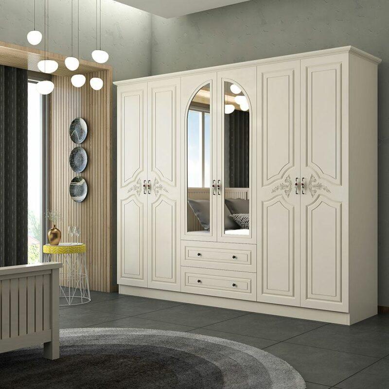 Lemari Pakaian Minimalis Putih 6 Pintu